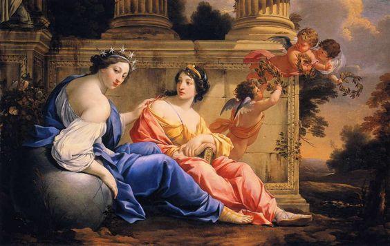 Las musas Urania y Calíope - Simon Vouet. En la mitología griega, Urania (en griego  'celestial') es la musa de la Astronomía y la Astrología. Según diferentes fuentes es hija de Urano, engendrada sin madre o de Zeus y Mnemósine. Urania es la madre de Lino, cuyo padre era Apolo. Es la menor de todas las musas. Calíope (en griego, 'la de la bella voz'); musa de la elocuencia, belleza y poesía épica (canción narrativa).
