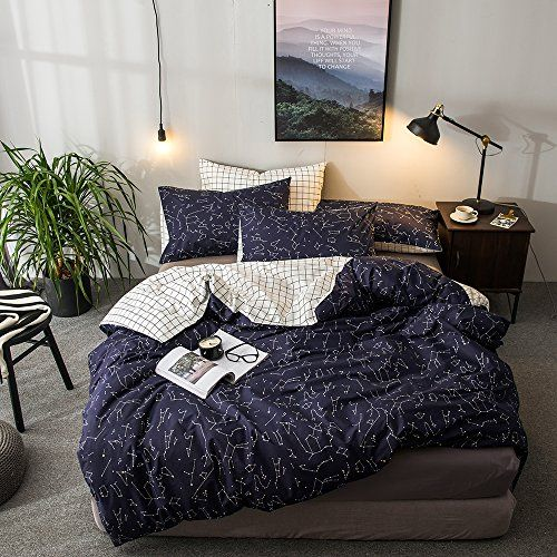 Queen Full Kids Constellation Pattern Printed Bedding Sets 100 Cotton Reversible Checkered Plaid Bedding Com Duvet Cover Sets Bed Duvet Covers Bed Quilt Cover