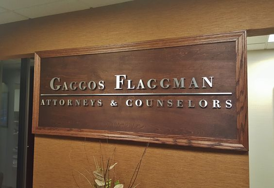 Brushed Aluminum Letters for a Law Office Sign.  The richness of wood with the integrity of our precision cut, brushed aluminum letters make a statement at the entrance to this smartly appointed law office.  Courtesy: Gaggos Law Firm, P.C. http://www.cut-metal-letters.com
