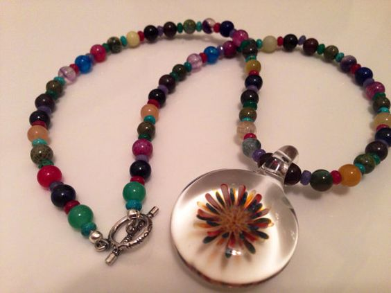 Colorful Flower Necklace with Glass Pendant by RedCloverJewelry, $40.00