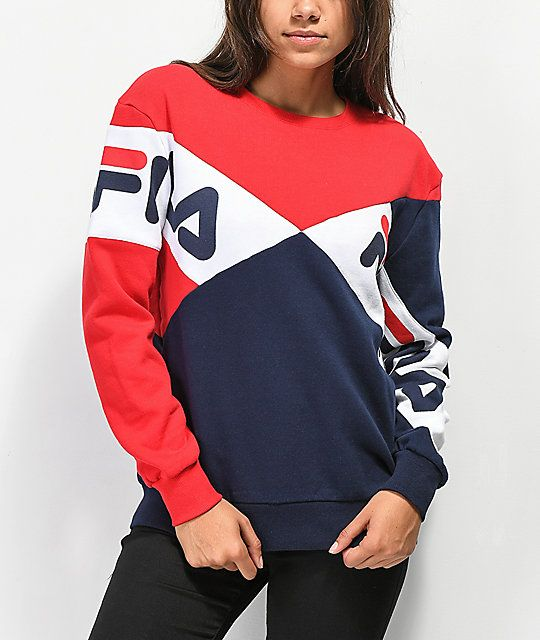 FILA Lidia Blue, Red & White Crew Neck Sweatshirt   Crew
