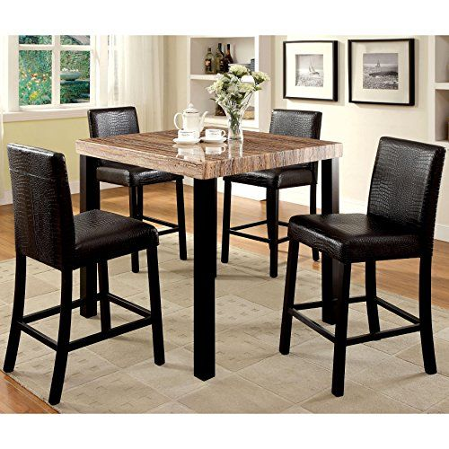 Furniture Of America Dymen Contemporary Black 5 Piece Counter Height Dining Set Square Dining Tables Dining Table With Storage Faux Marble Dining Table