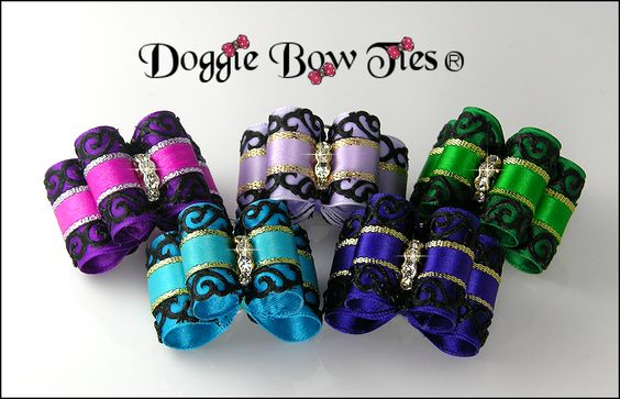 Dog Bows with Venetian Lace...feature imported black lace overlay on rich jewel tone satins trimmed with gold. Waterfall crystal center embellishments for maximum sparkle in the show ring! These are full sized dog bows.