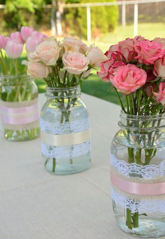 5 centros de mesa con frascos de vidrio 2