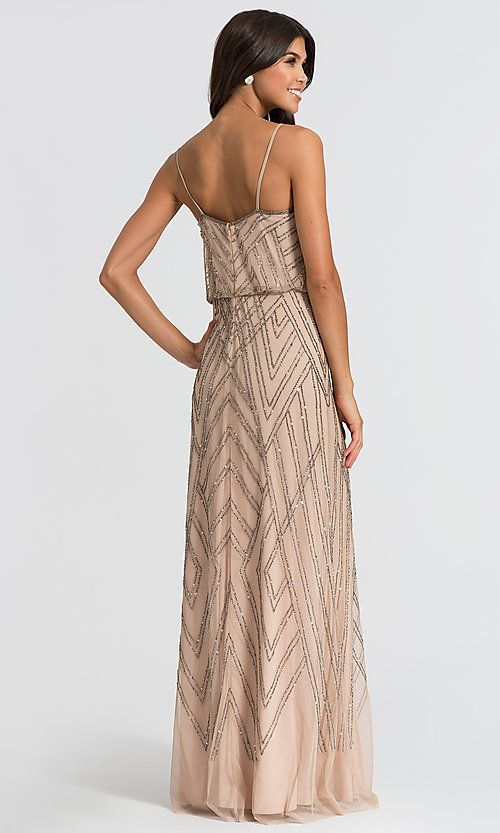 Adrianna Papell Taupe Long Beaded Bridesmaid Dress Limited Availability Bridesmaid Dresses Beaded Bridesmaid Dress Dresses