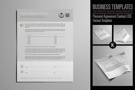 Payment Agreement Contract USL by Keboto on @creativemarket - forbearance agreement template