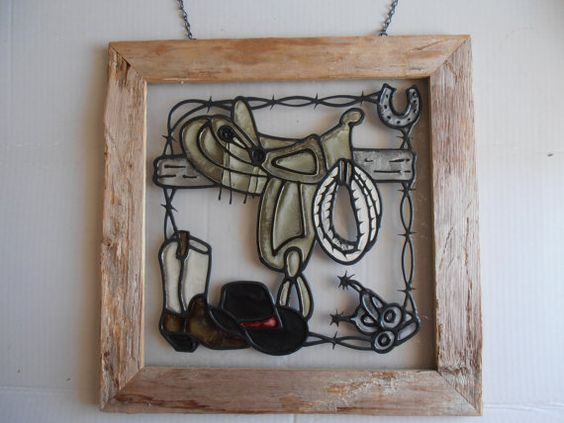 Western Faux Stained Glass hanging by tjmccarty on Etsy