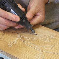 dremel... this has tons of projects: http://www.home-dzine.co.za/crafts/Acraft-index.htm#recycle