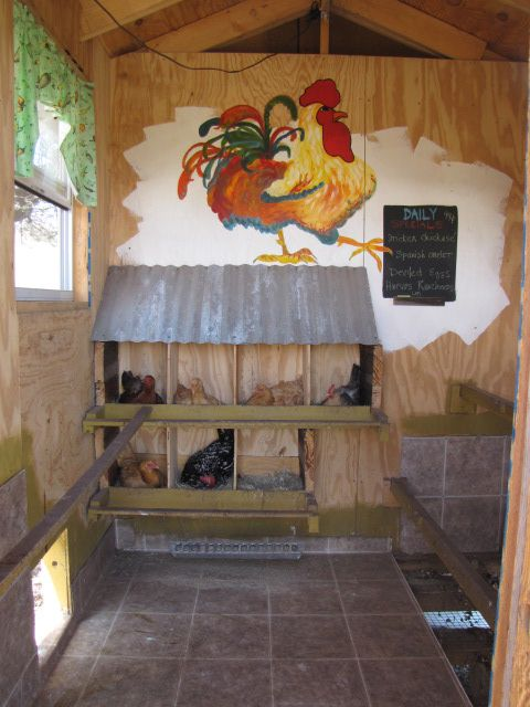 Even chickens are creatively inspired by art :-)  LOVE the tile floor----easy to clean & just throw straw in the winter for warmth!