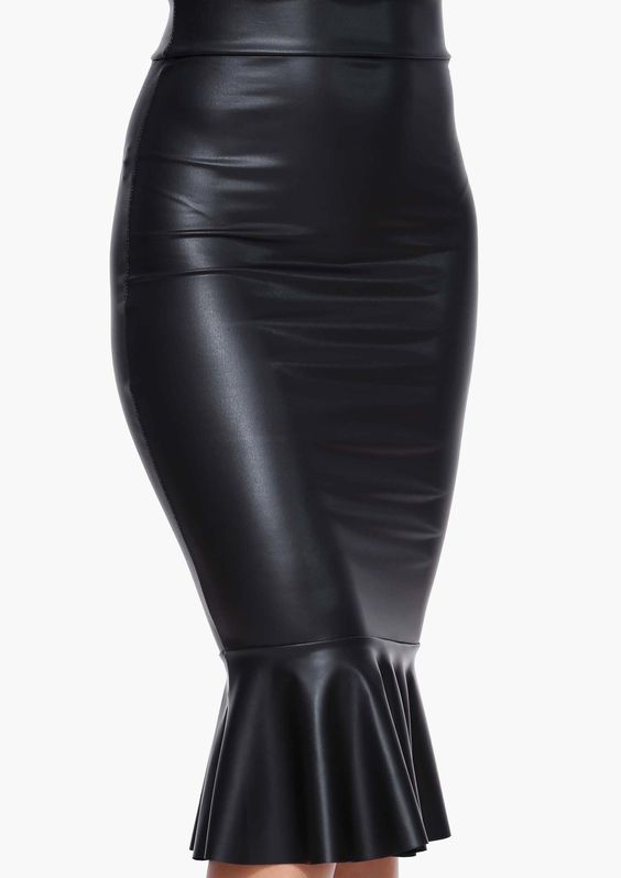 faux leather mermaid bodycon midi skirt in black
