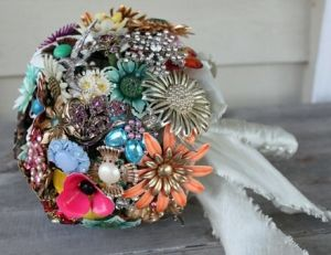 Totally cool idea - have each bridal shower guest brings a vintage brooch and make up a bouquet out of them.