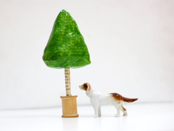 Fairy Topiary Tree paper mache on vintage cotton reel spool - tiny woodland garden by grrl+dog