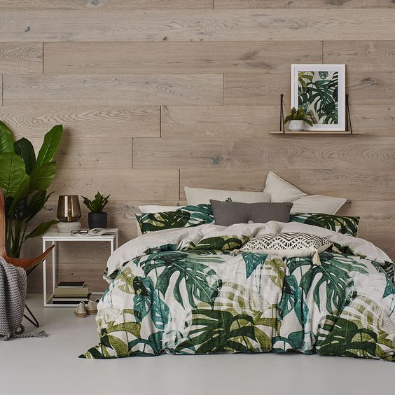 The Monstera leaf has quickly become one of the hottest trends in homewares, and the Si Lanna quilt cover set has captured the fresh, vibrant nature of this plant beautifully. Maintaining a contemporary feel, the cotton design features grid patterns on the reverse and on the coordinating European pillowcases.