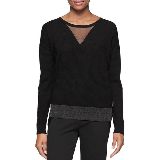 Calvin Klein Jeans Colorblocked Sweatshirt ($70) ❤ liked on Polyvore featuring tops, hoodies, sweatshirts, black, black top, pullover sweatshirts, black pullover sweatshirt, v-neck tops and sweatshirts hoodies