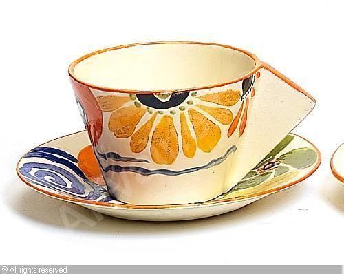 CLIFF Clarice,'Latona Flowerheads' teacup and saucer,Bonhams,London
