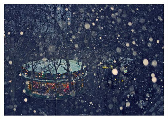 French carousel in the snow -a beautiful photo! But our ponies seem to be glad to be in, out of the elements!