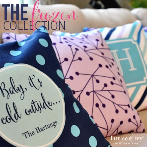 Personalized pillows in fun patterns and colors by Lattice & Ivy