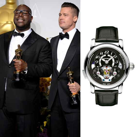 Oscar® winner in the category âBest motion picture of the yearâ for â12 Years a Slaveâ, Steve McQueen was wearing Montblanc Nicolas Rieussec Open Home Time timepiece at the Academy Awards.