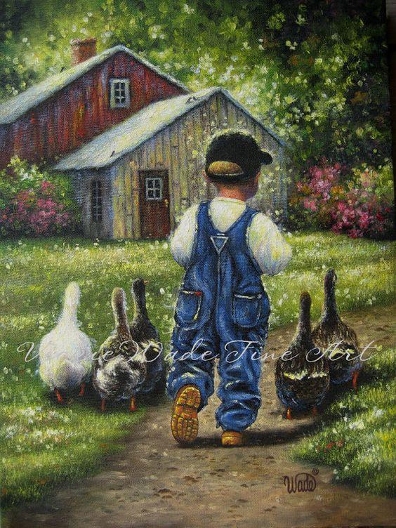 Little Farm Boy Art Print boys room wall art by VickieWadeFineArt