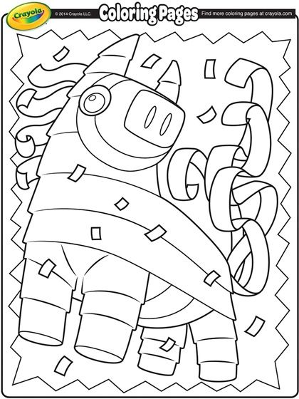 Color This Playful Pi 241 Ata In Celebration Of Cinco De Mayo Celebration Coloring Pages