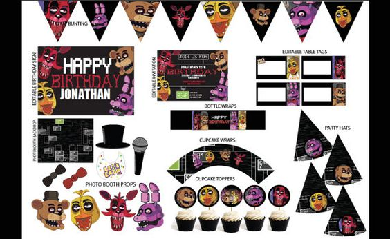 Five nights at freddy s party pack printables instant download
