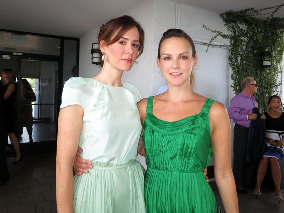 Sarah Paulson of Game Change & Carla Gallo in this case, easy - and elegant - being green, at the BAFTA Los Angeles Pre-Emmy Tea: Tea Sept, Londonhotel, Emmy Tea