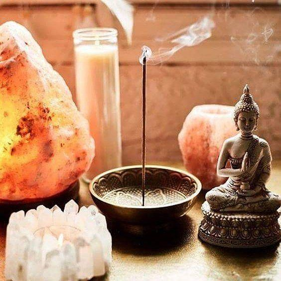 "480 Likes, 19 Comments - Spiritual Home (@spiritual_home) on Instagram: ""Meditation Space ________________________________  #meditation #incense #saltlamp #buddha #candle"""