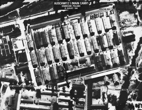"AUSCHWITZ- BERKENAU CONCENTRATION CAMP (ENDLÖSUNG)        Aerial veiw from ""The Auschwitz Protocols"""