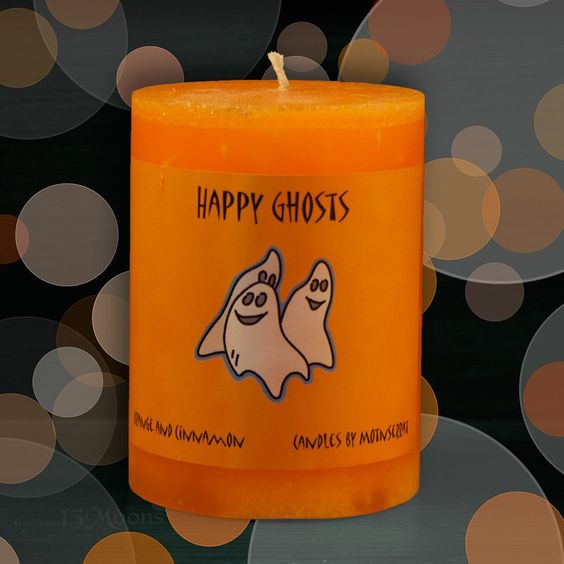 Halloween Happy Ghost Candle 3x4