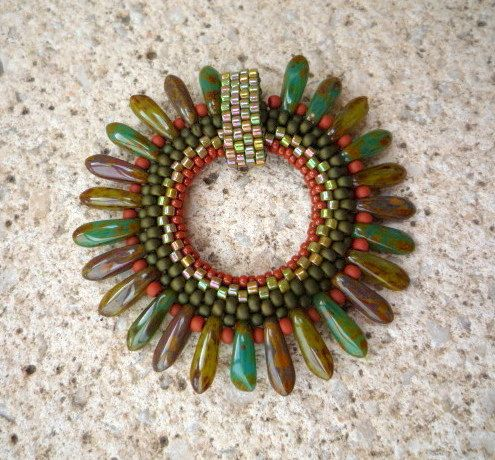 Green Mix Picasso dagger beaded pendant