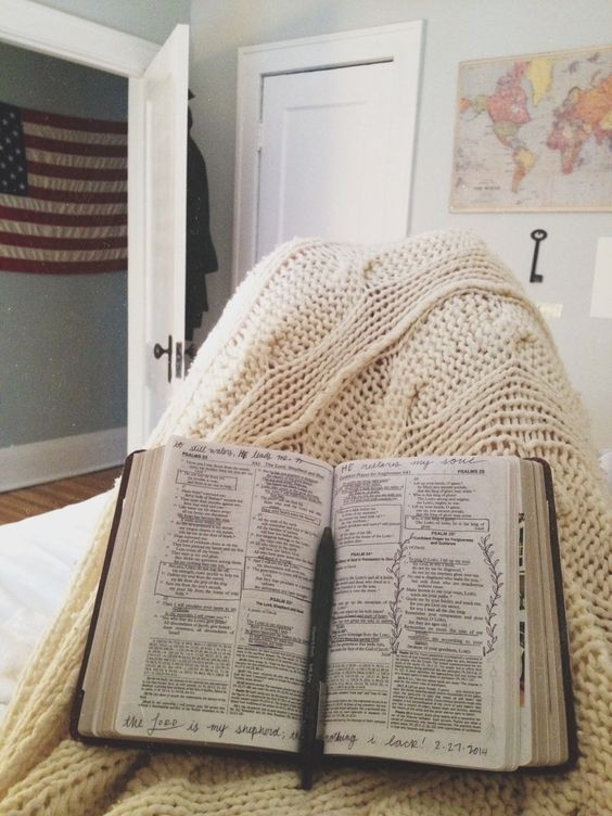 I don't find comfort in the warmth of a lover's arms or in the delight of friends, but in the thoroughly worn pages of my favorite book, the Bible, which is God's love letter written for me and for you