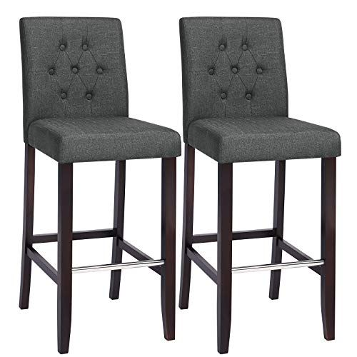 Songmics Set Of 2 Bar Stools Kitchen Breakfast Chairs With Button Tufted Backrest Linen Style Fabric Solid Wo Breakfast Chairs Kitchen Bar Stools