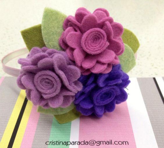diadema bandita flor fieltro felt flower headband girl baby nia bebe