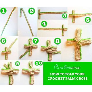 Today I bring you this humble offering: A crochet palm pattern and a diagram of instructions to fold it so you may create and honor this Palm Sunday.