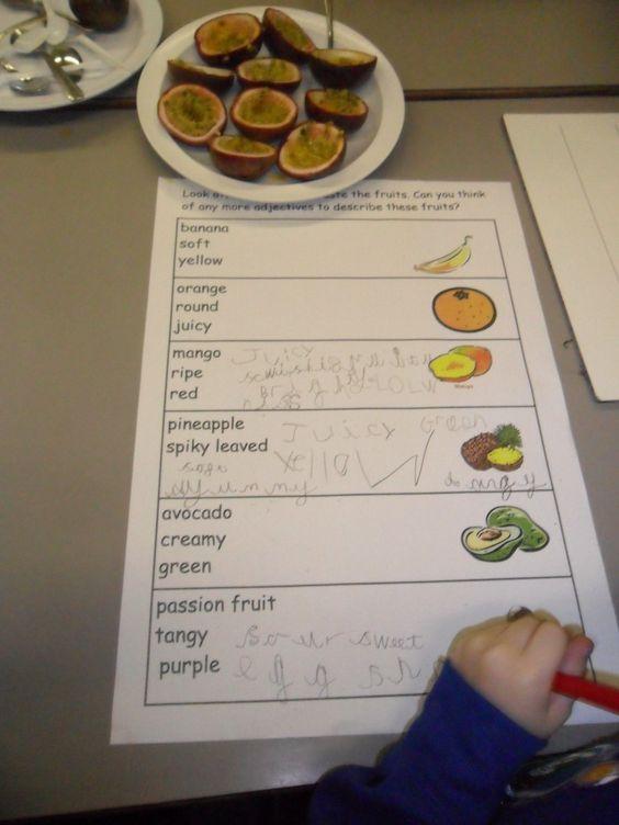 Handas Surprise Fruit recording sheet -use as teacher led task for adjective lesson?
