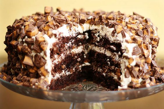 Chocolate peanut butter cake with peanut  butter icing and peanut butter cups...