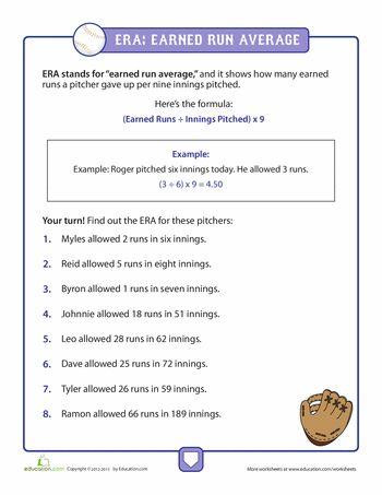 math worksheet : calculating era in baseball  worksheets baseball and articles : Baseball Math Worksheets