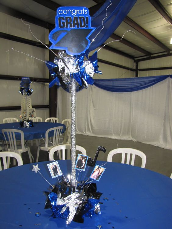 Balloons graduation centerpiece and ideas party on pinterest for Balloon decoration graduation