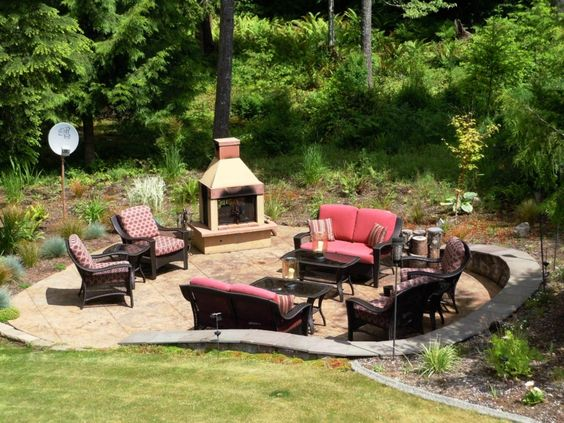 Backyard ideas fire pit with seating area dream house for Fire pit seating area
