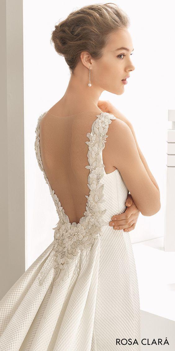 rosa clara 2017 bridal sleeveless bateau neckline simple clean elegant sheath wedding dress open low back chapel train (navas) mv zbv
