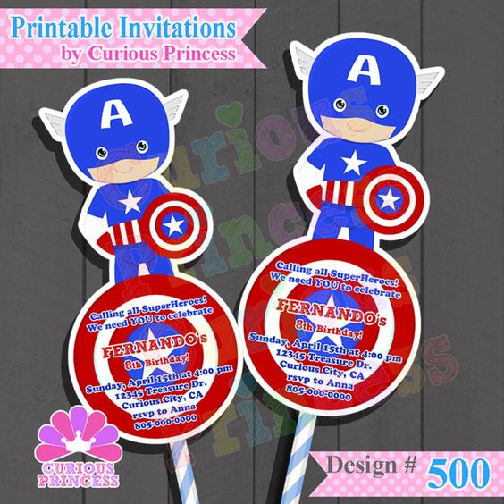 Captain America Invitations Party Ideas from Avengers invitations ...