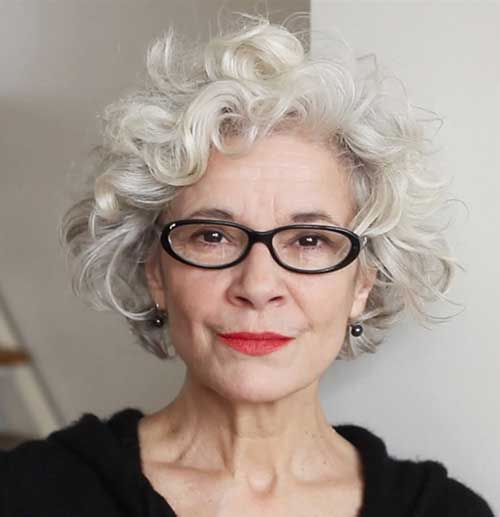Layered Curly Short Gray Hair: