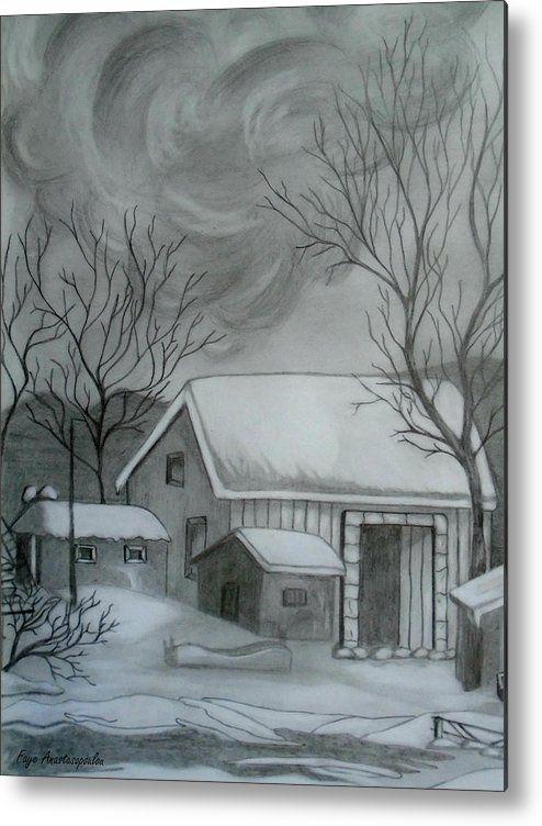 Winter Scene Metal Print By Faye Anastasopoulou Landscape Drawings Winter Scenes Acrylic Prints