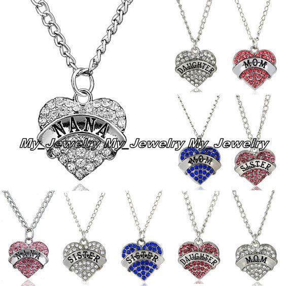 Women Rhinestone Crystal Heart Mom Daughter Sister Nana Family Pendant Necklace | eBay