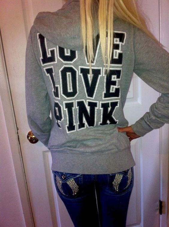 Victoria's Secret LOVE PINK Boyfriend Gray Zip Up Hoodie sweatshirt Jacket BIG S #VictoriasSecret #Hoodie