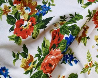 1950s Vintage French Floral Printed Fabric Cotton Viscose Blue Copper Green Mustard