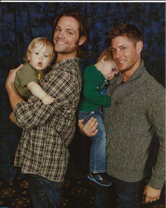 Jared Padalecki and Jensen Ackles holding small children ...