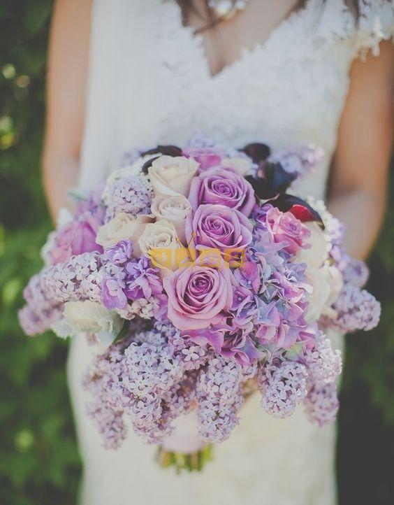 اجمل صور بوكيه ورد لاعياد الميلاد وللأحبه موقع مصري Lilac Wedding Pretty Wedding Bouquet Purple Wedding