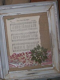 Upcycled piece...Christmas hymn framed on burlap and embellished...