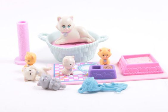 Littlest Pet Shop Baby Kittens Mom and Baby Cats Kenner Vintage 1992  The Pink Room  161109 by ThePinkRoom